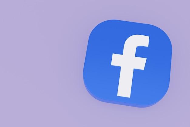 Facebook applicatie logo 3d-rendering op paarse achtergrond