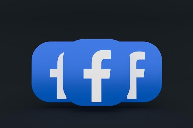Facebook applicatie logo 3d-rendering op zwarte achtergrond