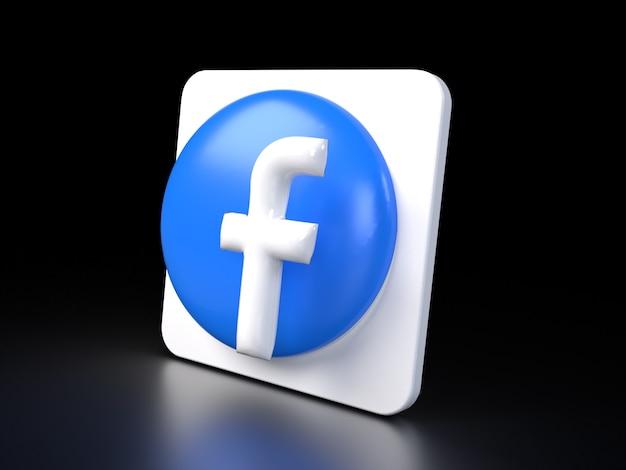 Facebook cirkel logo pictogram 3d premium foto 3d glanzende matte weergave