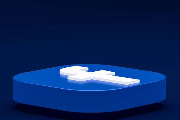 Facebook logo 3d-pictogram rendering