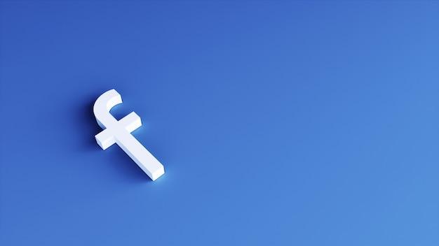 Facebook-logo minimaal eenvoudig ontwerpsjabloon. 3d-weergave