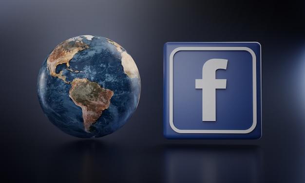 Facebook-logo naast earth render.
