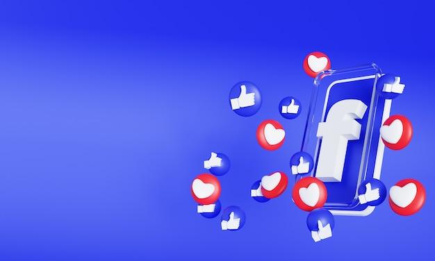 Facebook-logo op smartphone of mobiel scherm met liefde en zoals emoji 3d render
