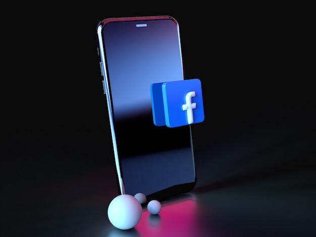 Facebook-logo over smartphonepictogram 3d premium foto 3d glanzende matte rendering