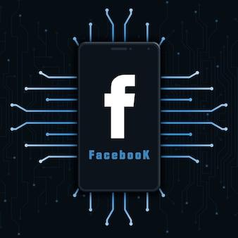 Facebook logo pictogram op het telefoonscherm op technische achtergrond 3d