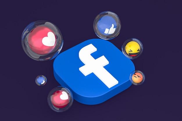 Facebook-pictogram met emoji's 3d render