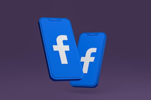 Facebook-pictogram op scherm mobiele telefoons 3d render
