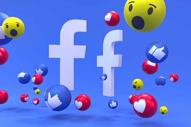 Facebook-pictogram op scherm smartphone of mobiel 3d render en facebook reacties
