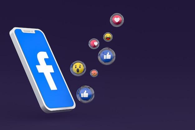 Facebook-pictogram op scherm smartphone of mobiele telefoon 3d render
