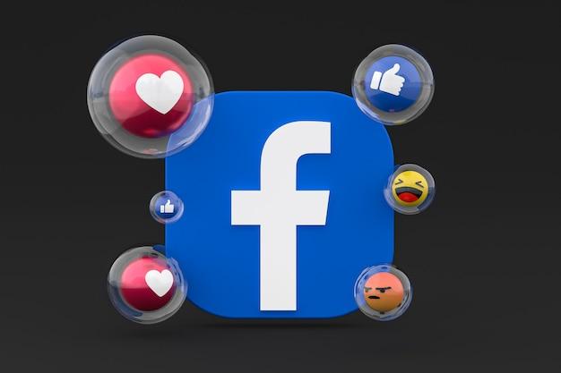 Facebook-pictogrammen met emoji's 3d render