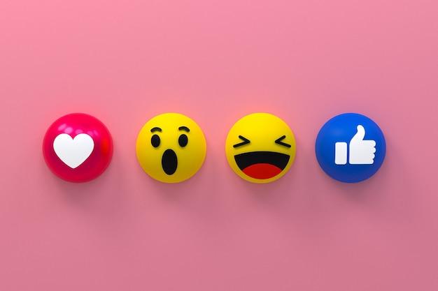 Facebook-pictogramreacties emoji 3d render, social media-symbool