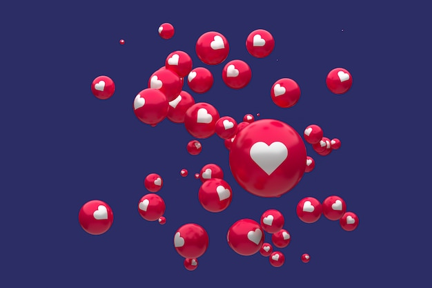 Facebook-reacties emoji 3d render premium photo, sociale media ballon symbool met hart, happy valentines day card