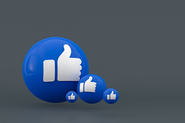 Facebook reacties emoji 3d render, social media ballon symbool met facebook iconen patroon