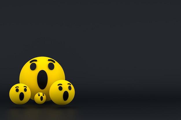 Facebook reacties emoji 3d render, social media ballonsymbool met facebook pictogrammen patroon