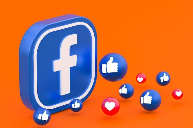 Facebook-reacties emoji 3d render, social media-symbool