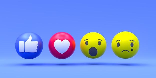 Facebook-reacties emoji 3d render, sociale media ballonsymbool met facebook-symbolen