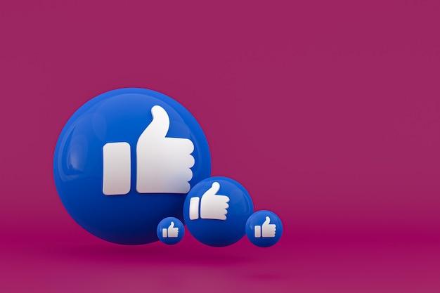 Facebook-reacties emoji renderen, social media ballonsymbool met facebook pictogrammen patroon