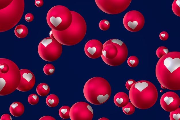 Facebook reacties hart emoji 3d render, sociale media ballonsymbool met hart