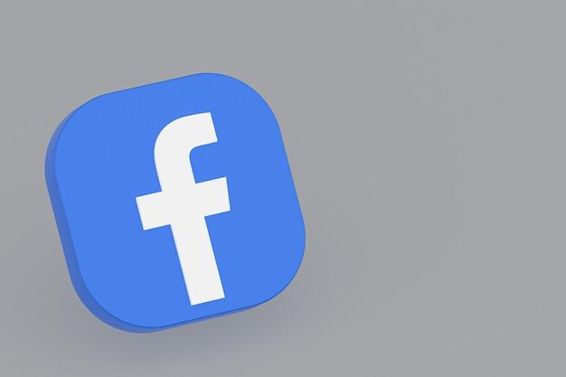 Facebook-toepassingslogo 3d-rendering op een grijze achtergrond