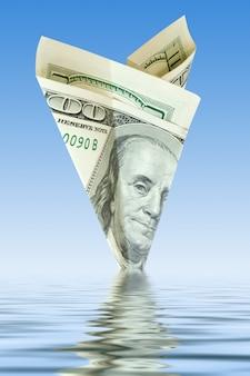 Faillissementsbedrijf. geld vliegtuigcrash in water