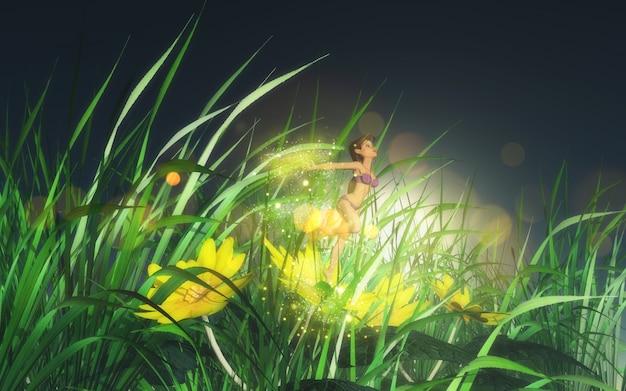 Fairy op een bloem