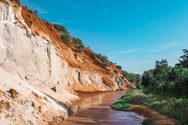 Fairy stream canyon, mui ne, vietnam, zuidoost-azië. prachtig schilderachtig landschap met rode rivier, zandduinen en jungle. tropische oase landschap. populaire, beroemde bezienswaardigheid, toeristische bestemming vietnam