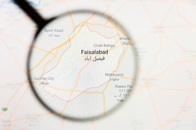 Faisalabad, pakistan stad visualisatie illustratief concept op het beeldscherm door vergrootglas