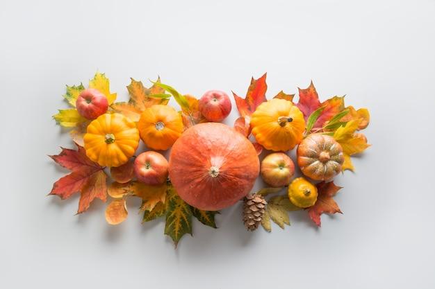 Fall decor voor thanksgiving day met pompoenen, bladeren, appels op grijs.