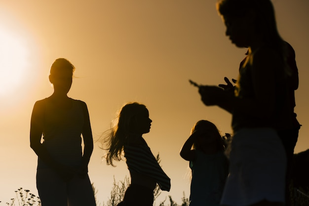 Familie als silhouet