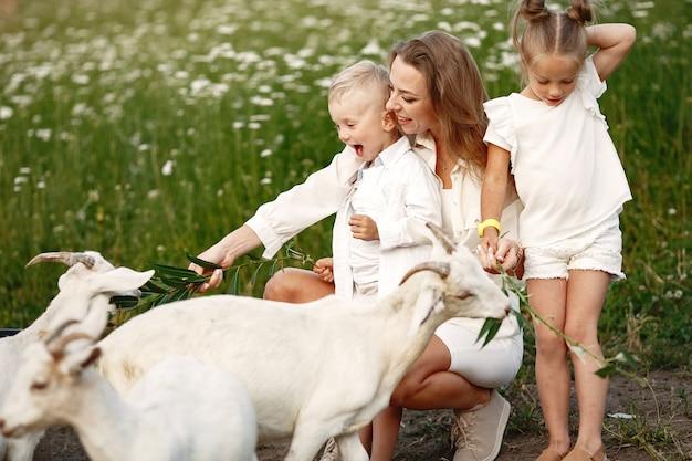 Familie brengt tijd door op vakantie in het dorp. jongen en meisje spelen in de natuur. mensen lopen in de frisse lucht.