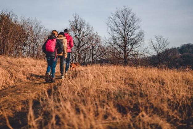 Familie die bij berg met hond wandelt