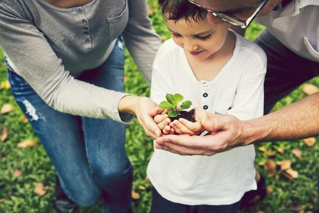Familie die een boom helpt te planten