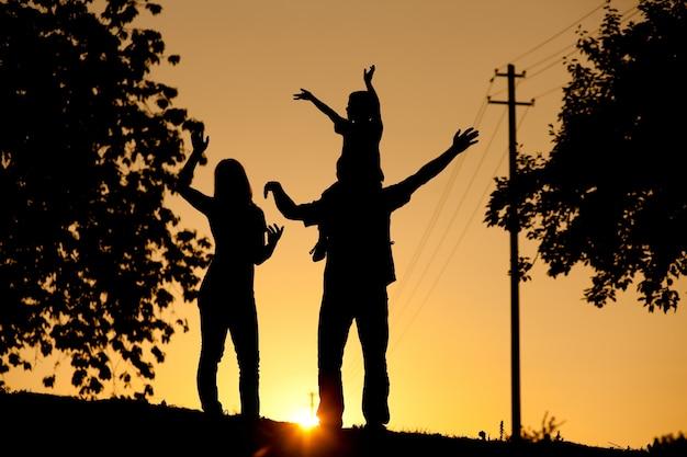 Familie die gang heeft bij zonsondergang