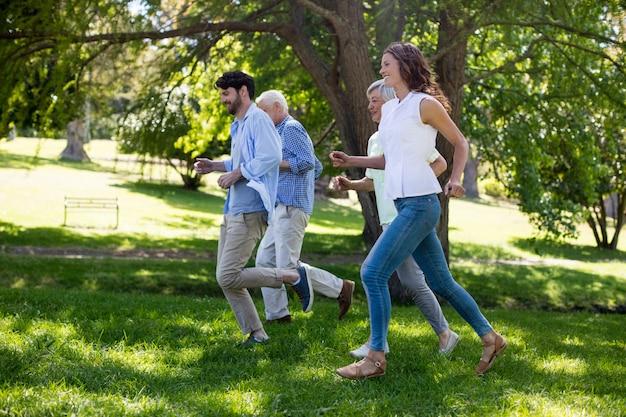 Familie die in het park loopt