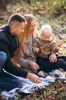 Familie die kleine picknick met hun zoon in de herfstpark heeft