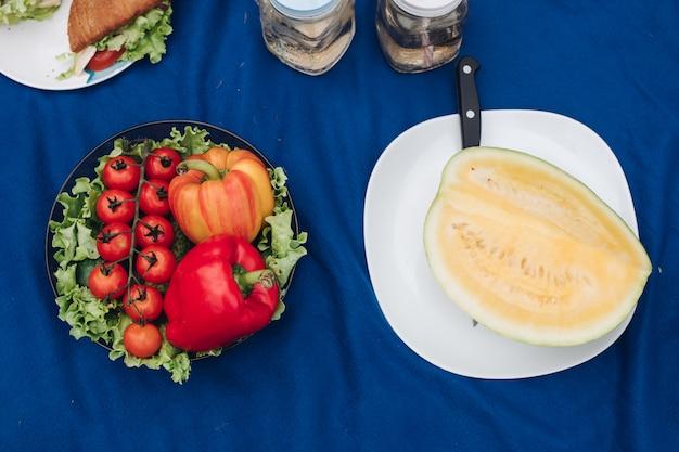 Familie die picknick op de deken heeft. zelfgemaakte croissants en sandwiches met limonade. de mens snijdt een gele watermeloen.