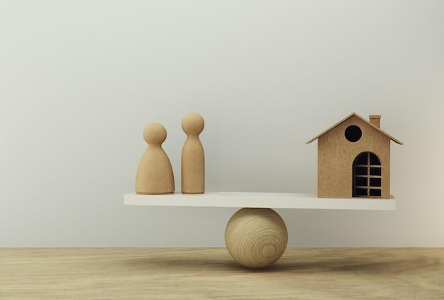 Familie en huis een evenwichtsschaal in gelijke positie. familie financieel beheer, voorschot