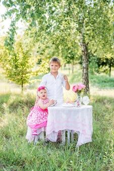 Familie in de natuur viert de verjaardag van het kind