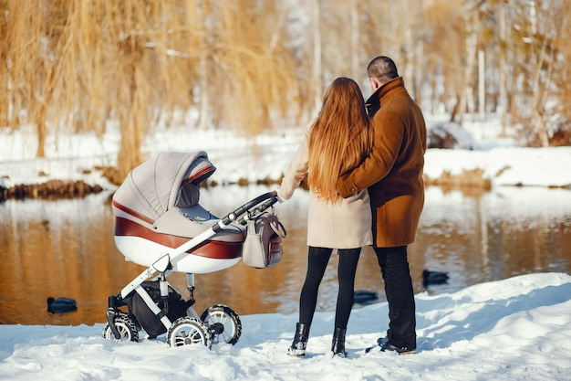 Familie in een winter park
