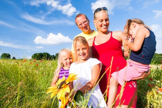 Familie in gras in de zomer