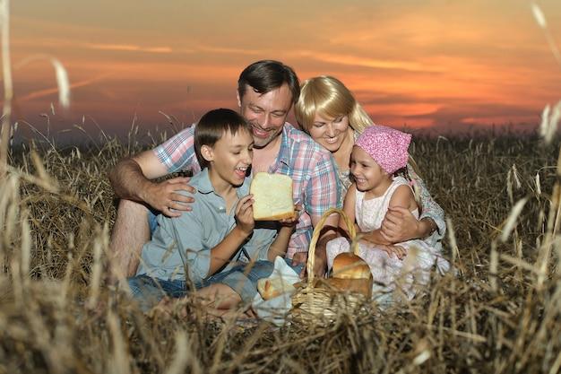 Familie in het veld bij zonsondergang, een boek aan het lezen