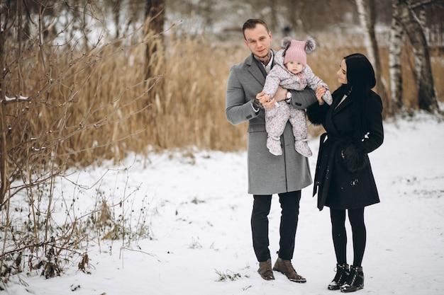 Familie in park in de winter met babydochter