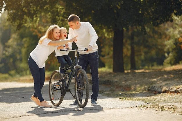 Familie met een fiets in een zomer park