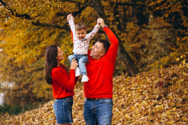 Familie met een kleine zoon in de herfstpark