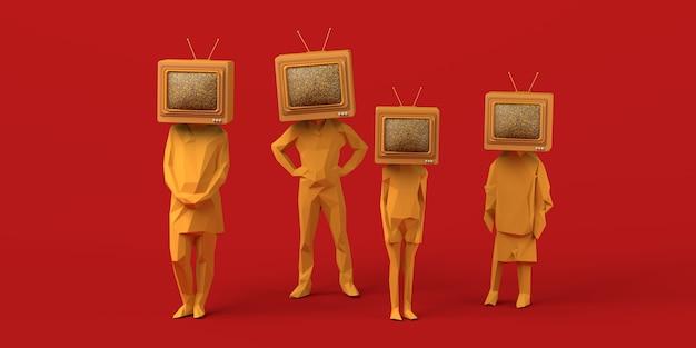 Familie met een oude televisie in plaats van een hoofd 3d illustratie ruimte kopiëren massamedia