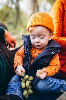 Familie met hun kleine zoon die picknick in park heeft