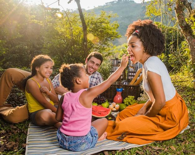 Familie met plezier bij picknick