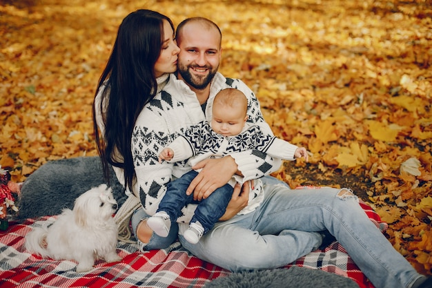 Familie met zoon in een de herfstpark