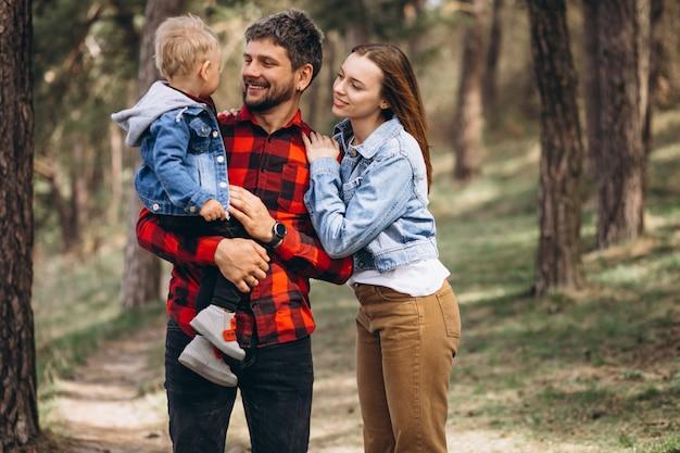 Familie met zoontje samen in het bos