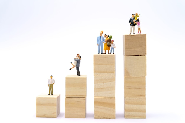 Familie miniatuurmensen staan investeringsanalyse of investering. het concept
